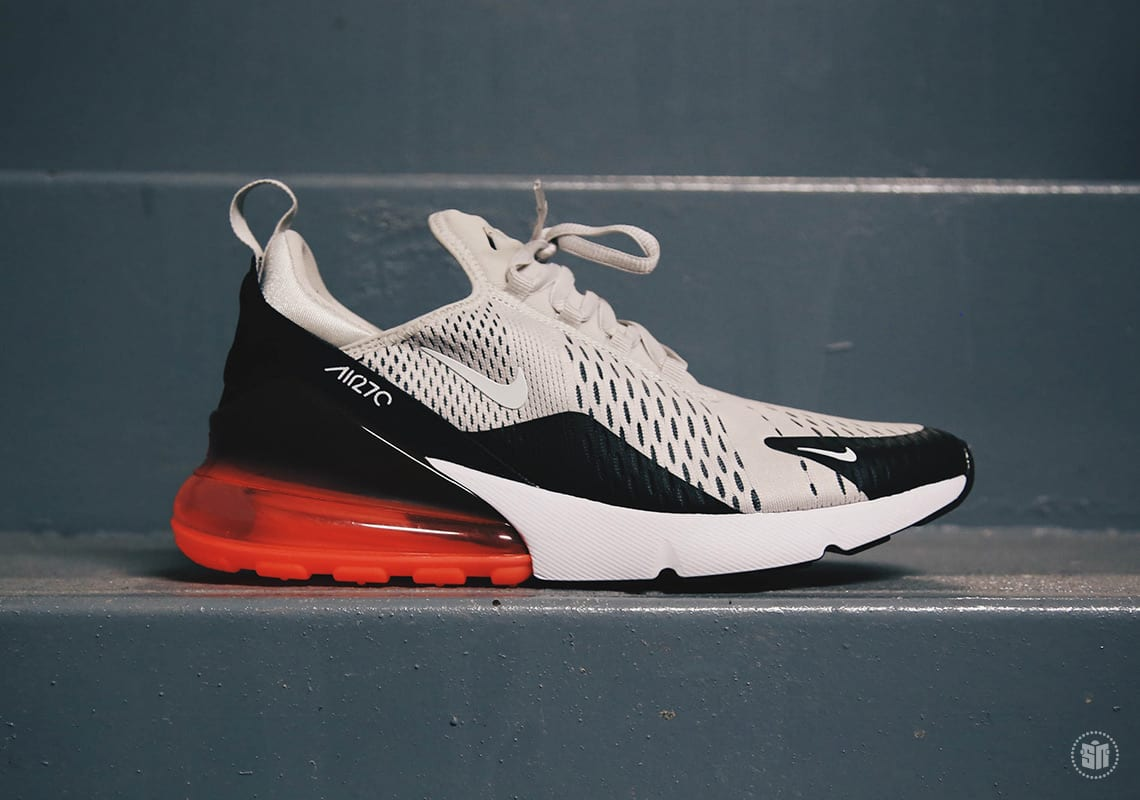 The Nike Air Max 270 In Light Bone And Hot Punch